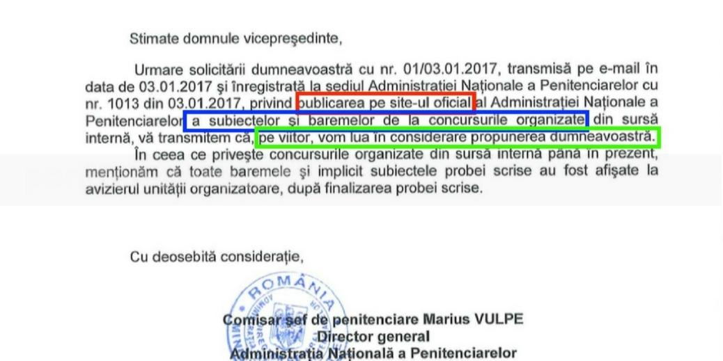 Directia Management si Resurse Umane din ANP raspunde pozitiv la solicitarea sindicatelor
