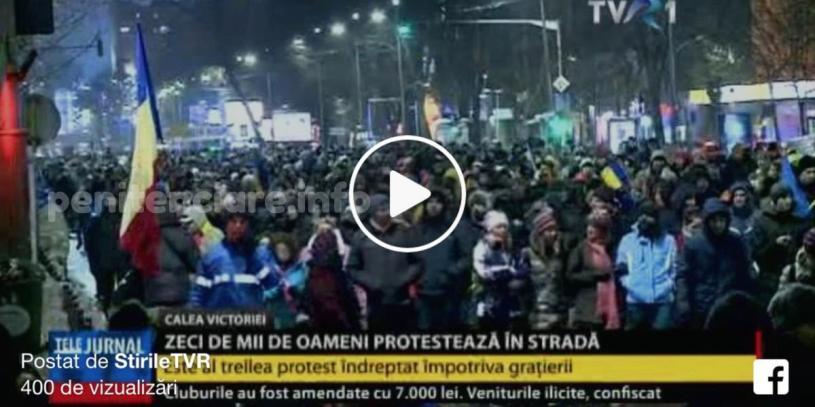 VIDEO | Zeci de mii de oameni au protestat in Bucuresti si in tara fata de proiectele gratierii si modificarii Codului Penal