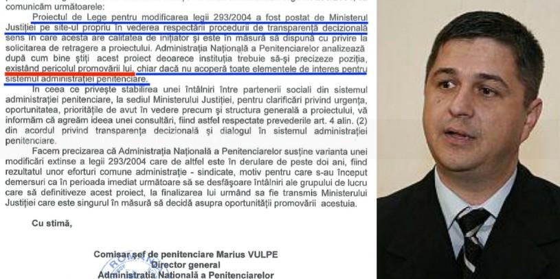 ANP: Proiectul de Statut al angajatilor din penitenciare este in pericol de a fi promovat in dezavantajul intereselor acestora