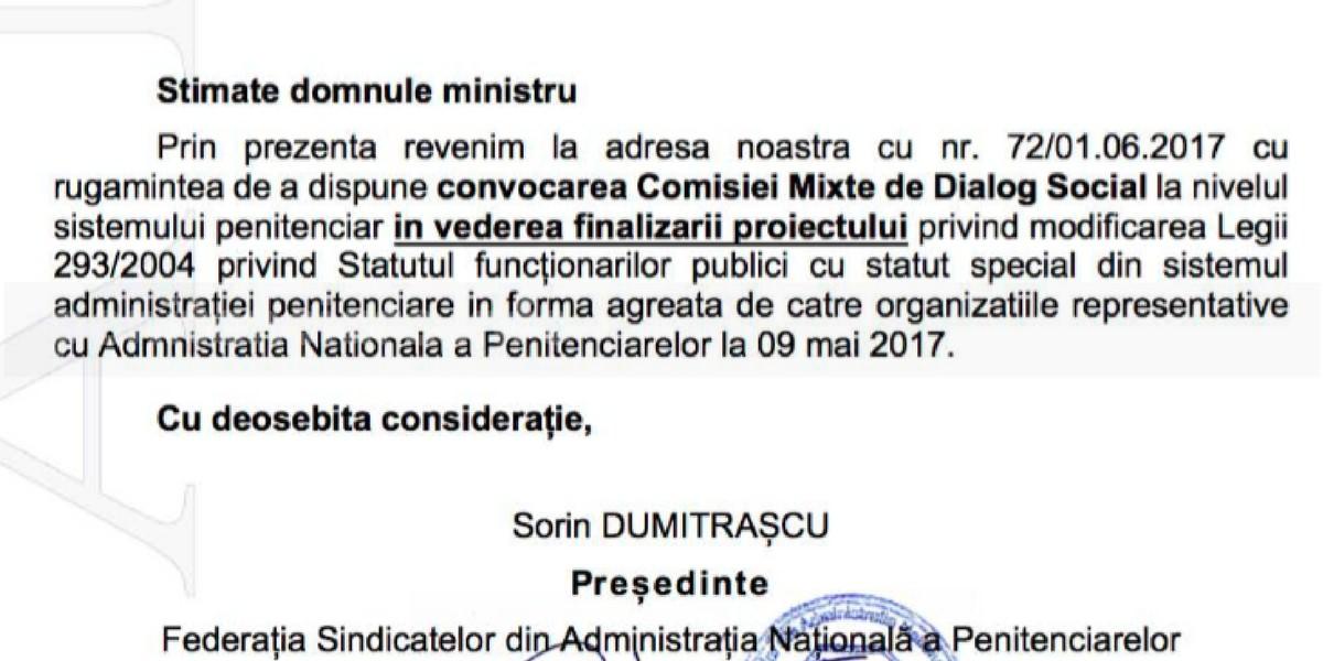 FSANP solicita finalizarea Statului politistului de penitenciare