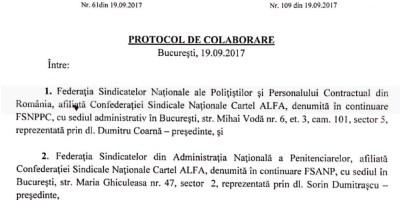 Prima alianta formala intre angajatii din penitenciare (FSANP) si cei din politie (FSNPPC)