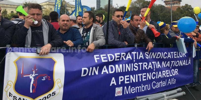 FSANP protesteaza in strada pentru angajatii din penitenciare