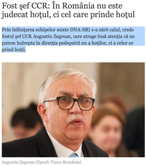 Augustin Zegrean - In Romania este judecat cel care prinde hotul