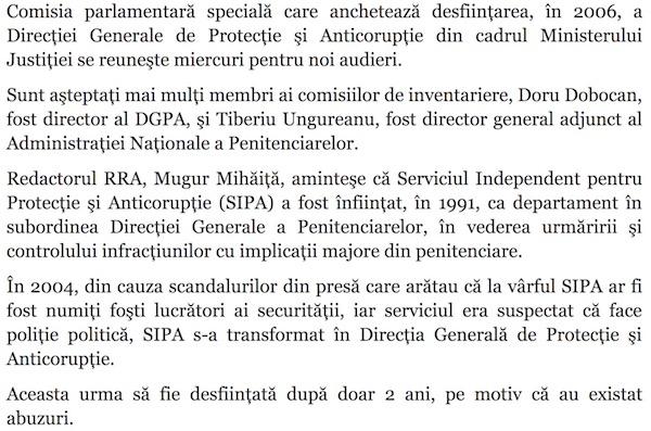 Comisia SIPA, cai verzi pe alti pereti