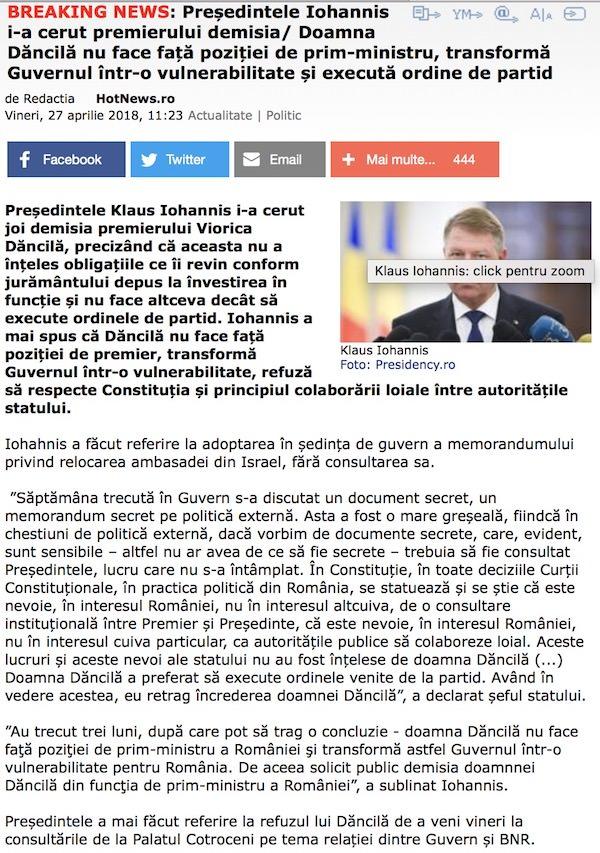 Presedintele Iohannis ii cere demisia Veoricai Dancila