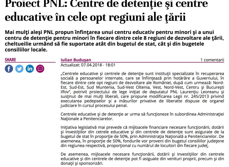 Proiect PNL - Centre de detentie pentru minori in toate cele 8 regiuni