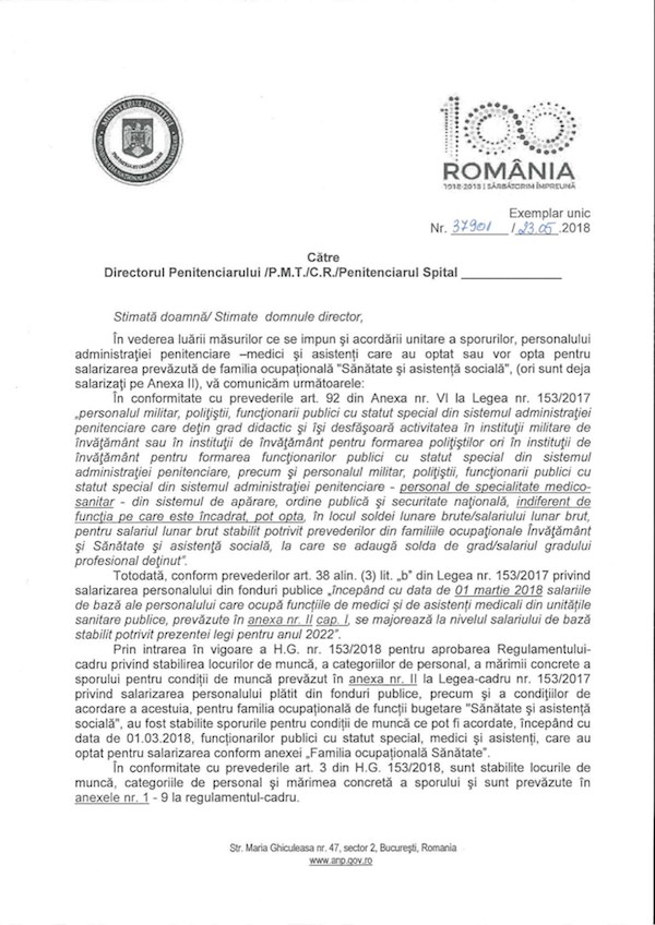 Adresa ANP plata unitara a sporurilor medici si asistenti