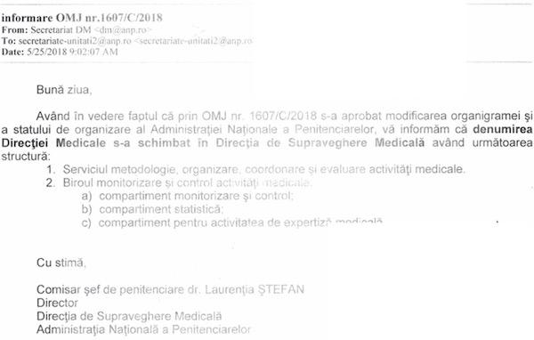 Informare schimbare denumire directia medicala 25052018