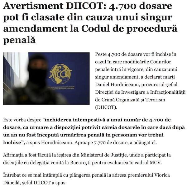 Avertisment DIICOT - 4.700 dosare pot fi clasate din cauza unui singur amendament la Codul de procedura penala