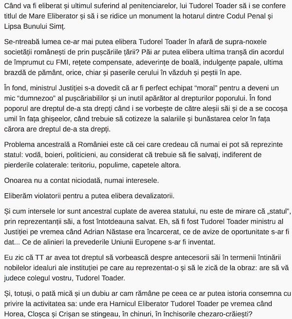 ziardecluj.ro  Eliberam violatorii pentru a putea elibera devalizatorii