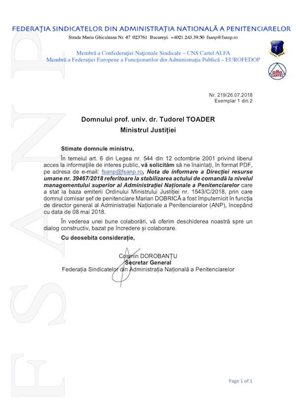 Adresa FSANP comunicare nota resurse umane stabilizare act de comanda - imputernicire DG ANP