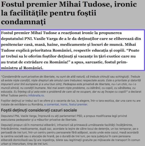Fostul premier Mihai Tudose, ironic la facilitatile pentru fostii condamnati