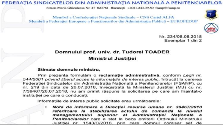 Reclamatie administrativa impotriva Ministerului Justitiei - Nota DRU stabilizarea actului de comanda management superior ANP