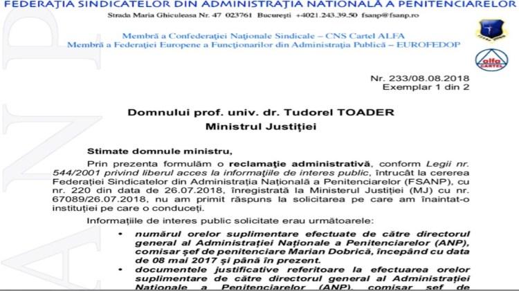 Reclamatie administrativa impotriva Ministerului Justitiei - ore suplimentare director general al ANP