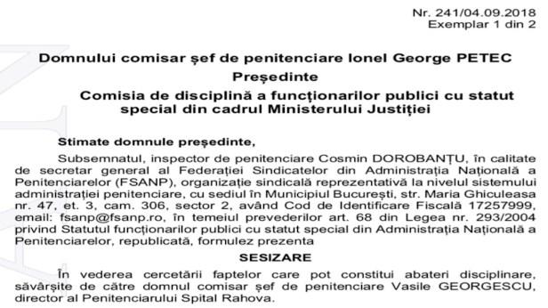 Directorul Penitenciarului Spital Rahova, in comisia de disciplina