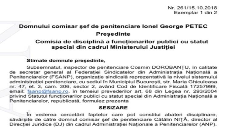 Directorul Directiei Juridice din ANP in comisia de disciplina