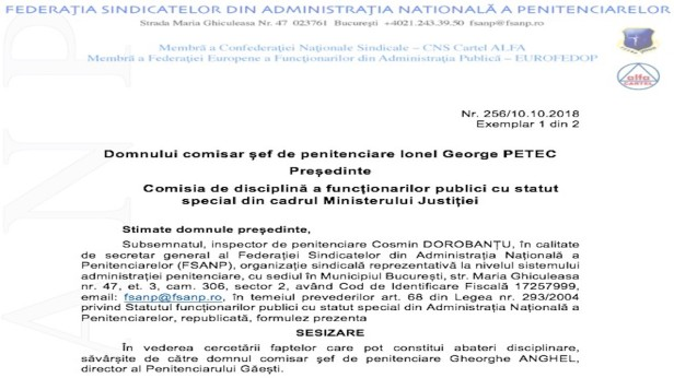 Directorul Penitenciarului Gaesti in comisia de disciplina