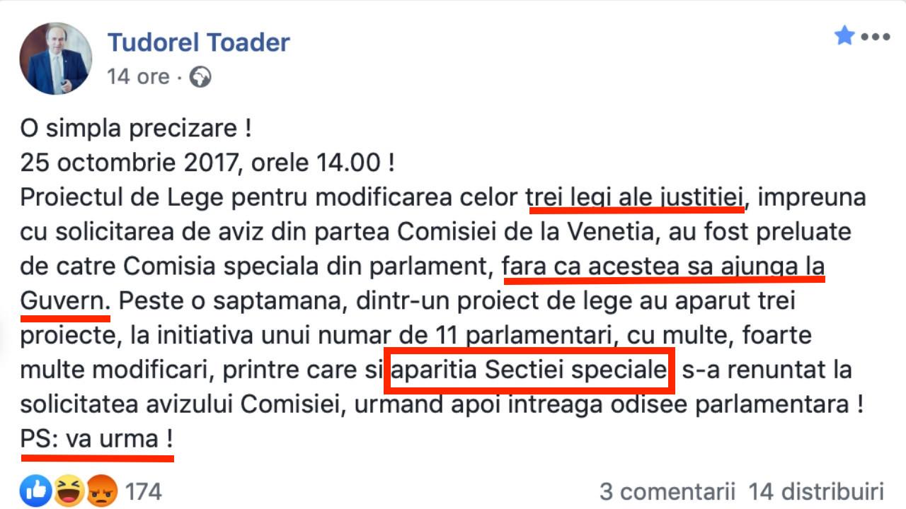 Tudorel Toader, praduitor pe Facebook!