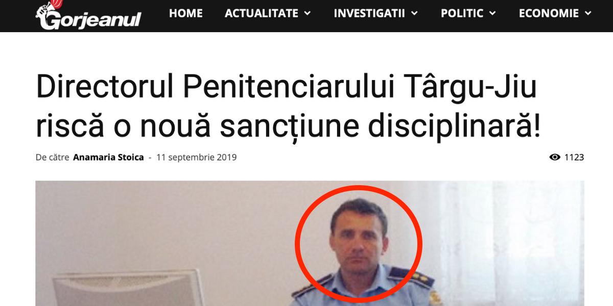 Imaginea Politiei penitenciare afectata de incompetenta directorului Ion Popescu (Penitenciarul Tg. Jiu)